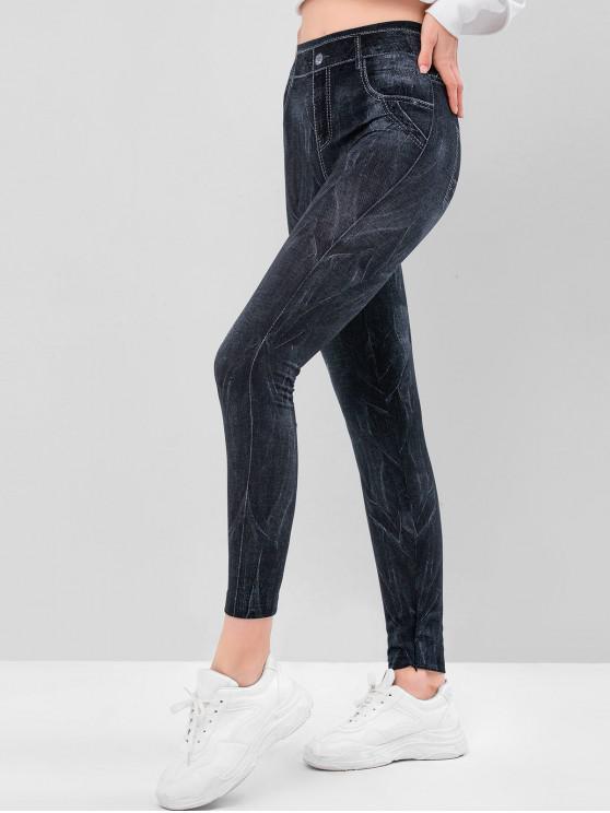 sale Pocket Pattern High Waisted Knit Jeggings - MIST BLUE M