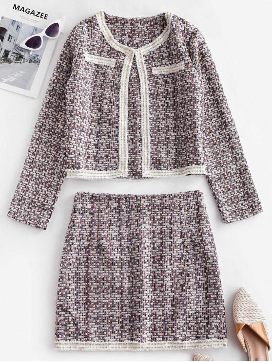 ladies Frayed Tweed Zip Fly Two Piece Skirt Set - MULTI-A S
