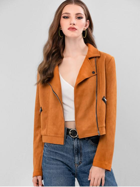 shop ZAFUL Zip Up Zippers Faux Suede Jacket - TIGER ORANGE S