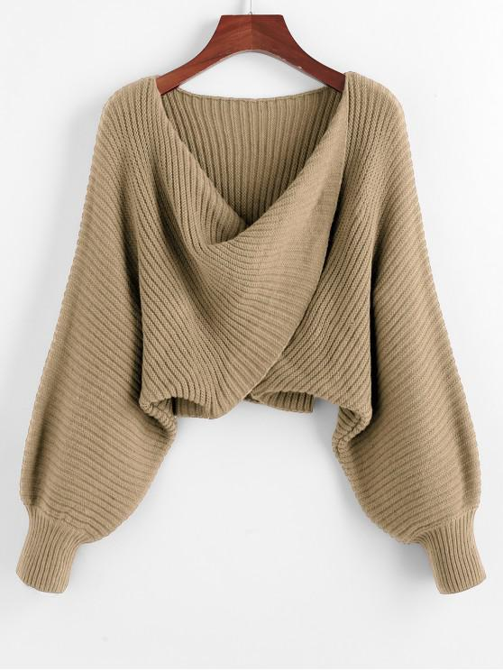 shop Twist Asymmetric Crop Sweater - LIGHT KHAKI S
