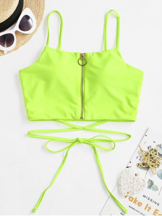 lady ZAFUL Neon Pull Ring Zip Tie Bikini Top - GREEN YELLOW XL