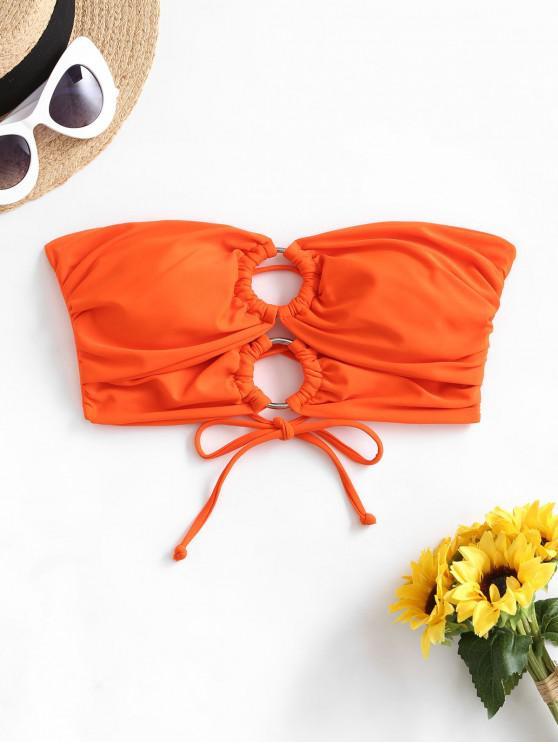 ladies ZAFUL O-ring Lace Up Ruched Bandeau Bikini Top - ORANGE XL
