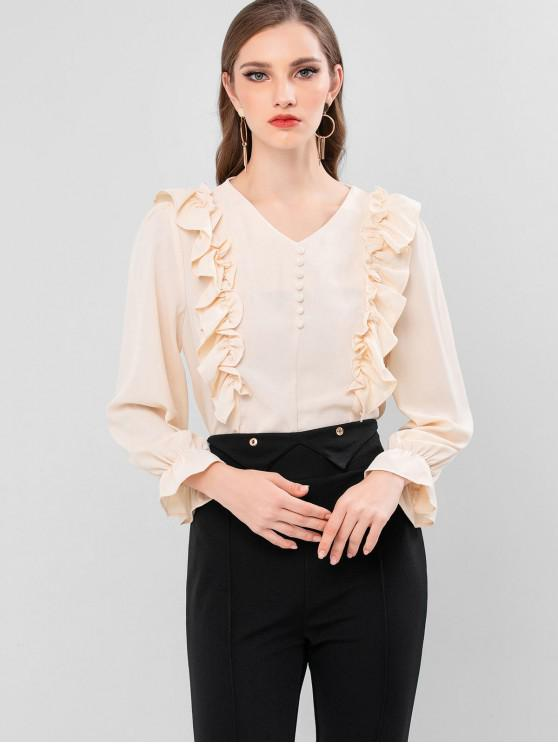 best Ruffled Cuff Frilled V Neck Blouse - APRICOT M