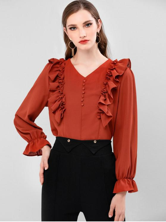 buy Ruffled Cuff Frilled V Neck Blouse - VALENTINE RED XL