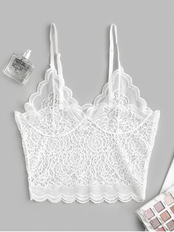 chic Lace Scalloped Longline Bralette Lingerie Bra - WHITE L