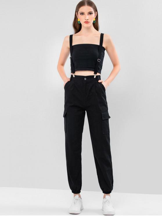 buy Suspender High Waisted Cargo Jogger Pants - BLACK M