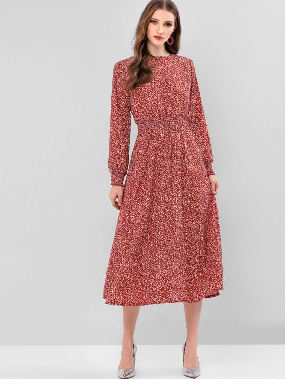 women's Ditsy Print Smocked Cuff A Line Dress - CHERRY RED XL
