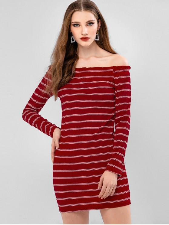 條紋羅紋露肩連衣裙Bodycon - 紅 XL