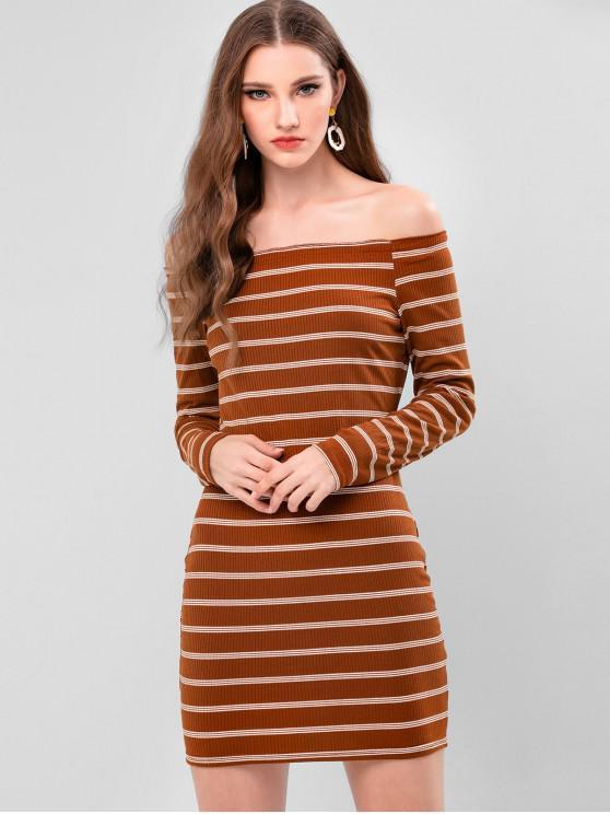 條紋羅紋露肩連衣裙Bodycon - 淺褐色 L