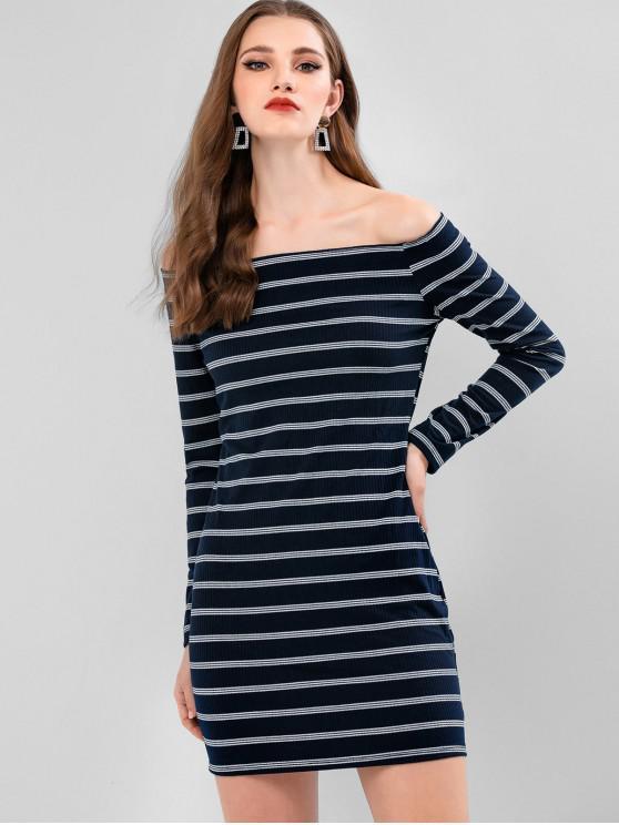 條紋羅紋露肩連衣裙Bodycon - 深藍板岩 M