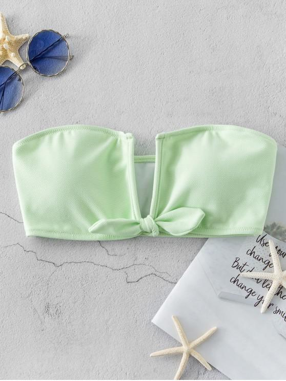women's ZAFUL Textured V Wired Tied Bandeau Bikini Top - MINT GREEN L