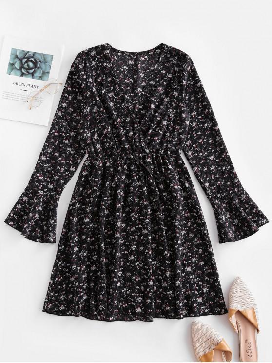 women's Ditsy Floral Surplice Flare Sleeve Tie Dress - BLACK L