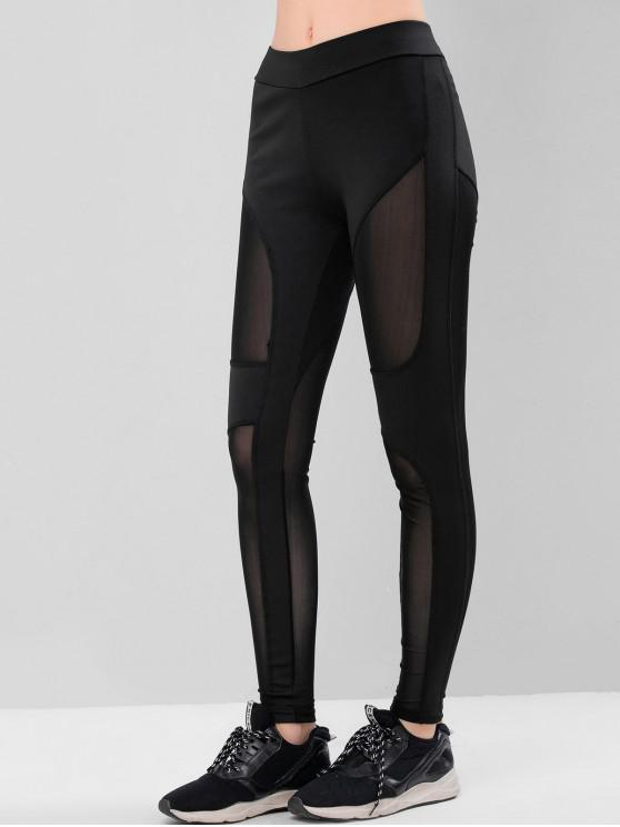 buy Mesh Panel Skinny Sport Leggings - BLACK S