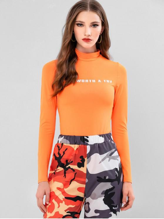 trendy ZAFUL Try Graphic Long Sleeve Bodysuit - MANGO ORANGE L