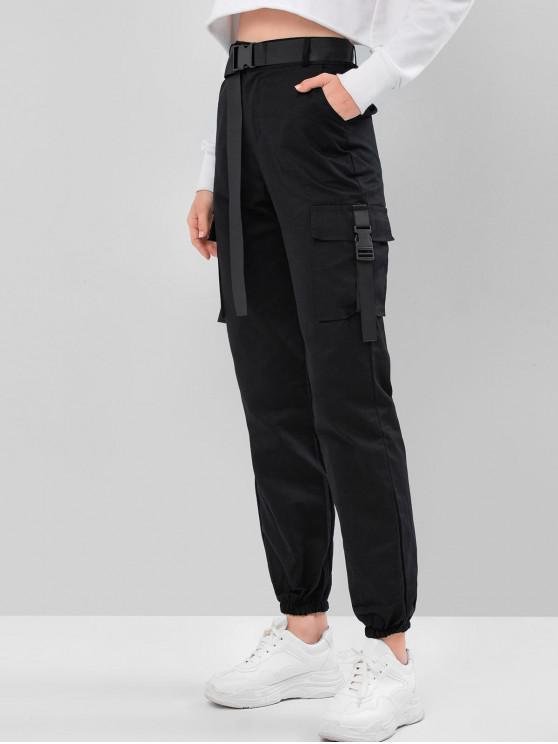 women Push Buckle High Waisted Cargo Jogger Pants - BLACK XL