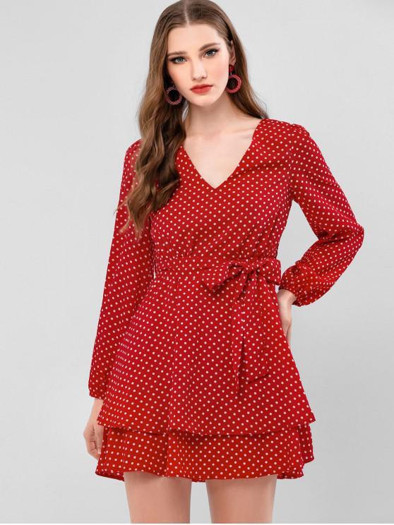 affordable ZAFUL Polka Dot Belted Mini Overlay Dress - RUBY RED M