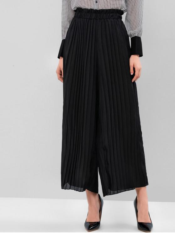 ladies Pleated Solid Wide Leg Paperbag Pants - BLACK S
