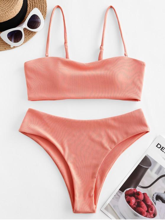 shop ZAFUL Ribbed Bandeau Bikini Swimsuit - ORANGE PINK S