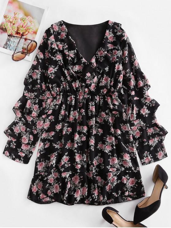 womens Floral Layered Ruffled Surplice Chiffon Dress - BLACK S