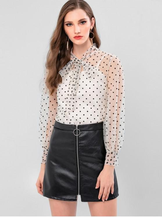 outfit Flocking Polka Dot Bow Tie Neck Mesh Blouse - WARM WHITE L