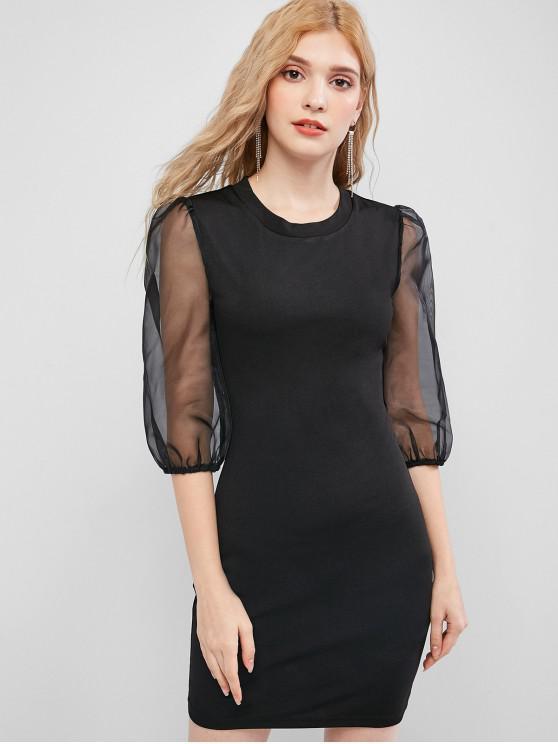 ladies ZAFUL Organza Sleeve Bodycon Mini Dress - BLACK XL