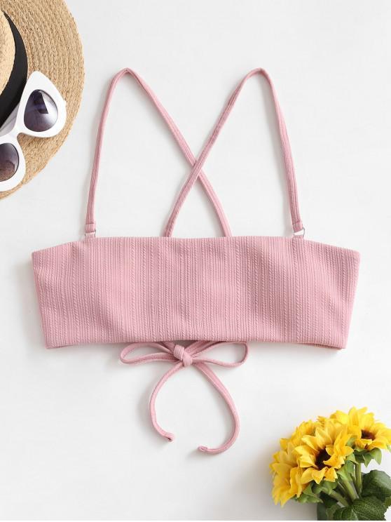 shop ZAFUL Ribbed Lace Up Cross Bikini Top - ROSE L