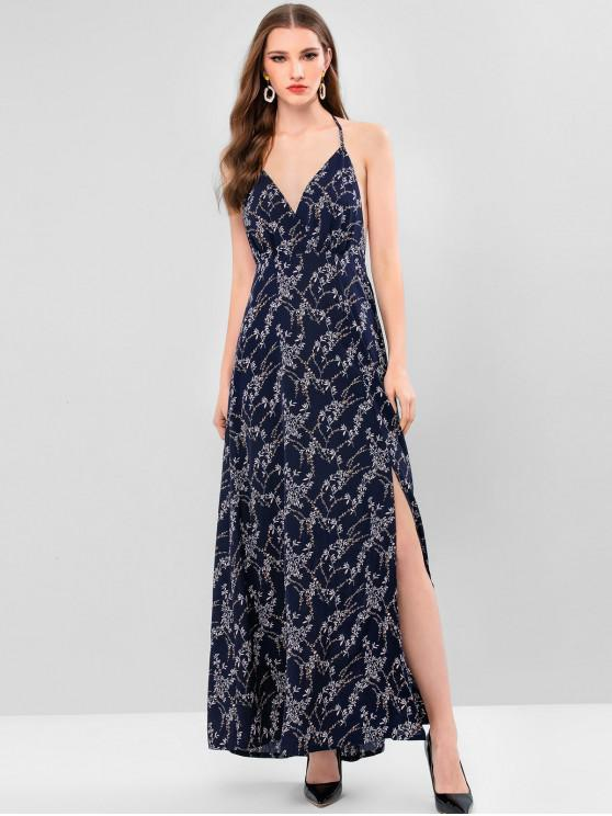 fashion ZAFUL Halter Low Back Leaf Slit Maxi Beach Dress - CADETBLUE L