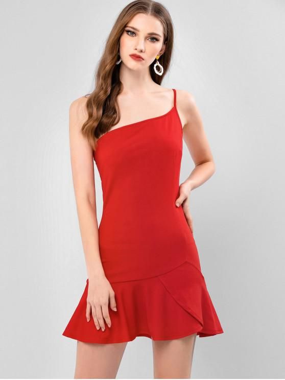 latest ZAFUL Flounce One Shoulder Mermaid Mini Dress - RED L