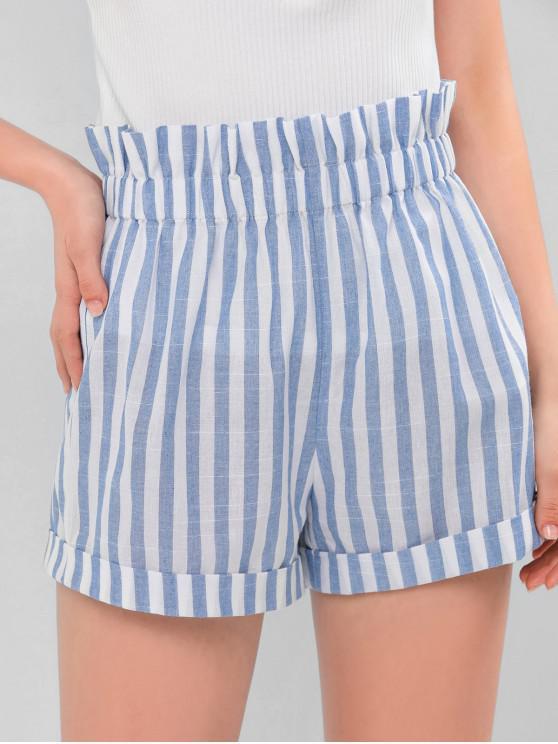shops ZAFUL Two Tone Striped Paperbag Shorts - MULTI-A L