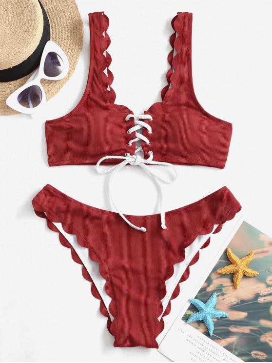 ZAFUL costine smerlato Lace Up Bikini Swimsuit - Rosso Lava  L