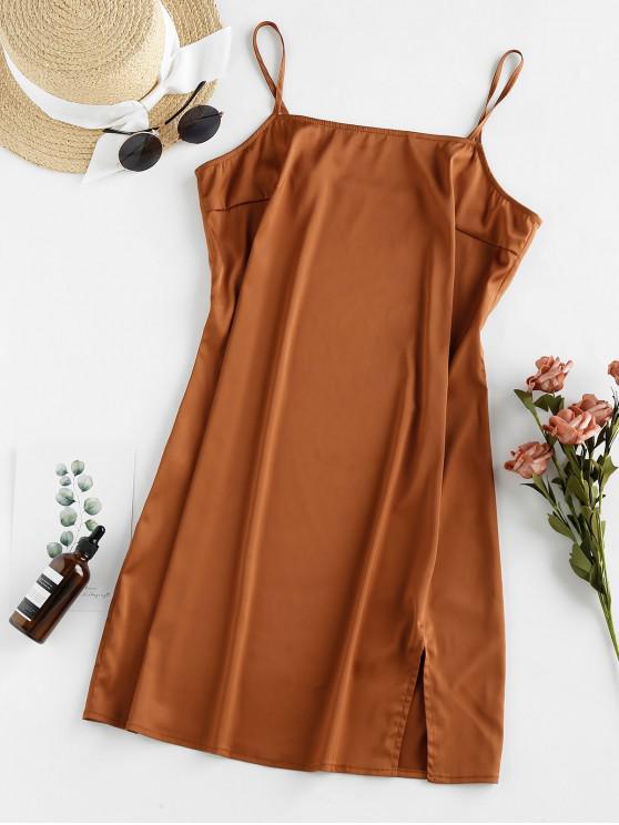 fashion ZAFUL Slit Satin Mini Cami Dress - TIGER ORANGE M