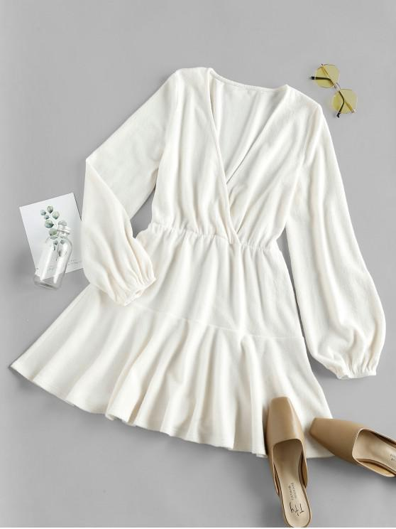 lady ZAFUL Plunge Puff Sleeve Flounced Mini Dress - WARM WHITE XL