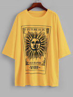 T-Shirt Lâche Lettre Soleil Et Lune Imprimés - Jaune M