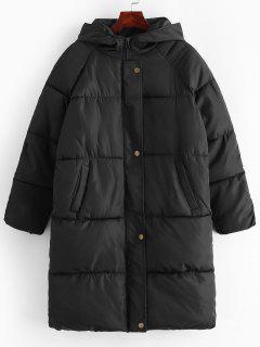 Manteau à Capuche Matelassé Long à Manches Raglan - Noir M