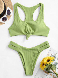 ZAFUL Knot Ribbed Racerback Bikini Swimsuit - Green Snake S