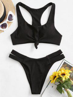 ZAFUL Nudo Acanalado Scoop Bikini - Negro M