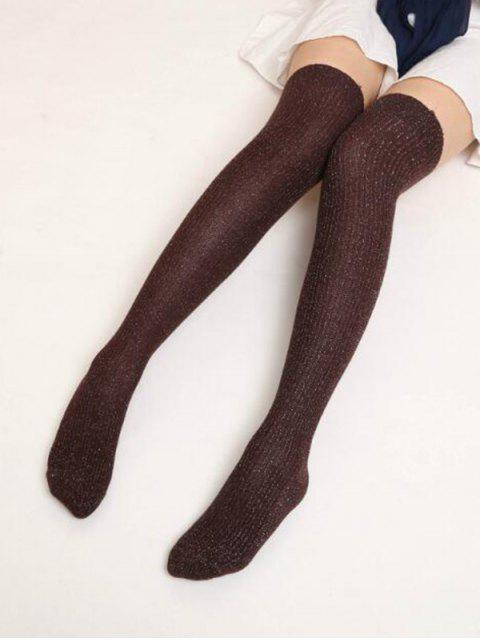 unique Solid Metallic Over Knee Socks - COFFEE  Mobile