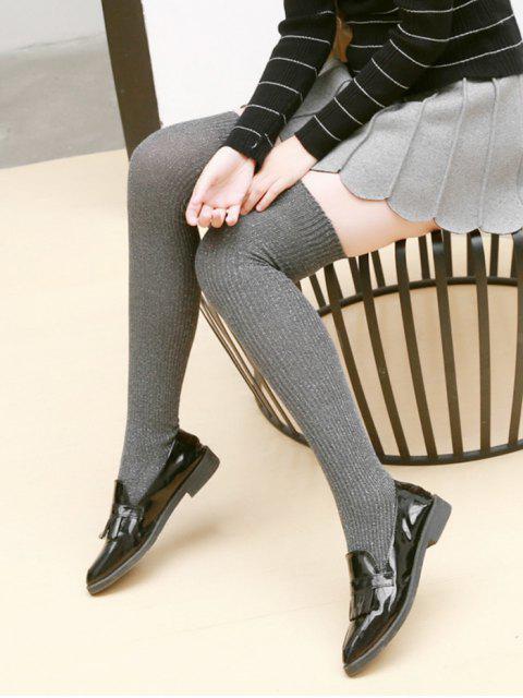 affordable Solid Metallic Over Knee Socks - DARK GRAY  Mobile