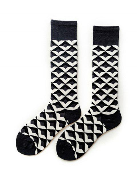 buy Argyle Geometric Calf Length Socks - DARK GRAY  Mobile