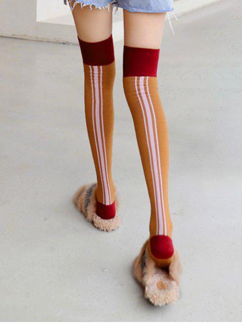 hot Stripe Colorblock Over Knee Length Socks - COFFEE  Mobile