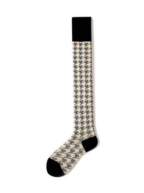 outfit Houndstooth Over Knee Length Socks - GRAY  Mobile