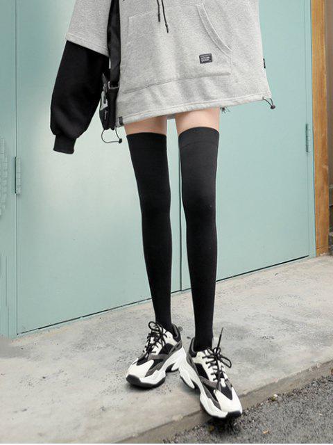 shop Solid Sports Thigh High Socks - BLACK  Mobile