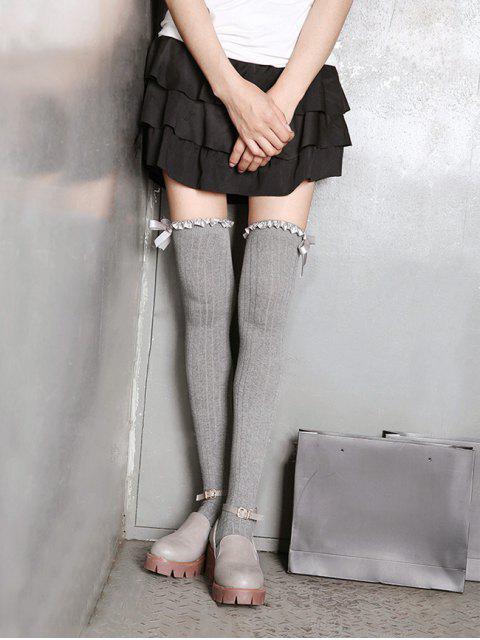 shops Ruffle Bowknot Over Knee Length Socks - LIGHT GRAY  Mobile