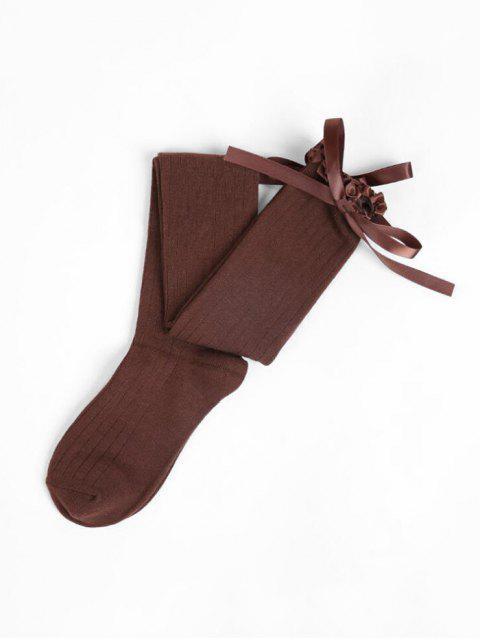 latest Ruffle Bowknot Over Knee Length Socks - COFFEE  Mobile