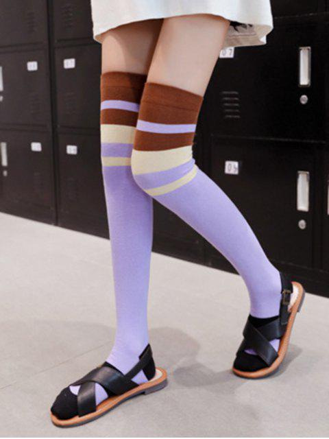 trendy Striped Print Over The Knee Length Socks - PURPLE  Mobile