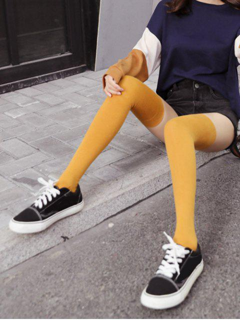 fashion Solid Sports Thigh High Socks - YELLOW  Mobile