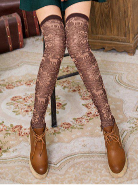 sale Christmas Elk Over Knee Length Socks - COFFEE  Mobile