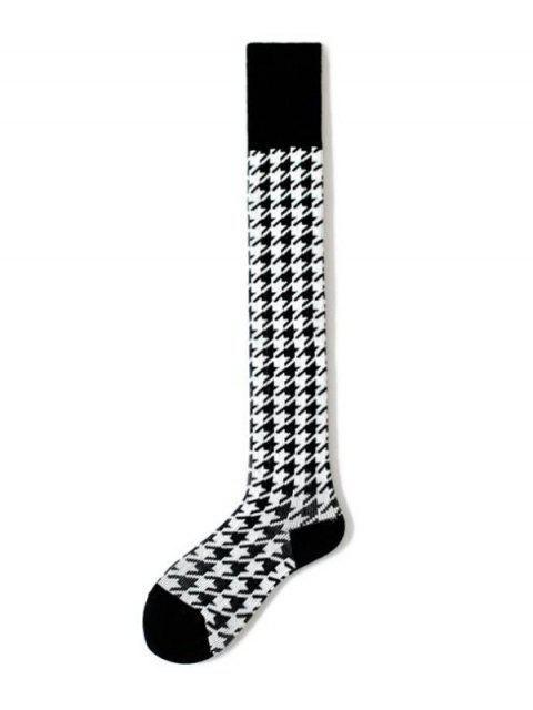 affordable Houndstooth Over Knee Length Socks - BLACK  Mobile
