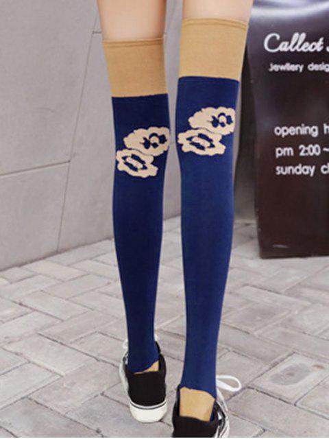 best Floral Colorblock Thigh High Socks - BLUE  Mobile