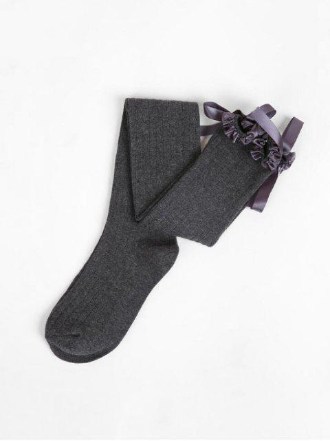 online Ruffle Bowknot Over Knee Length Socks - DARK GRAY  Mobile